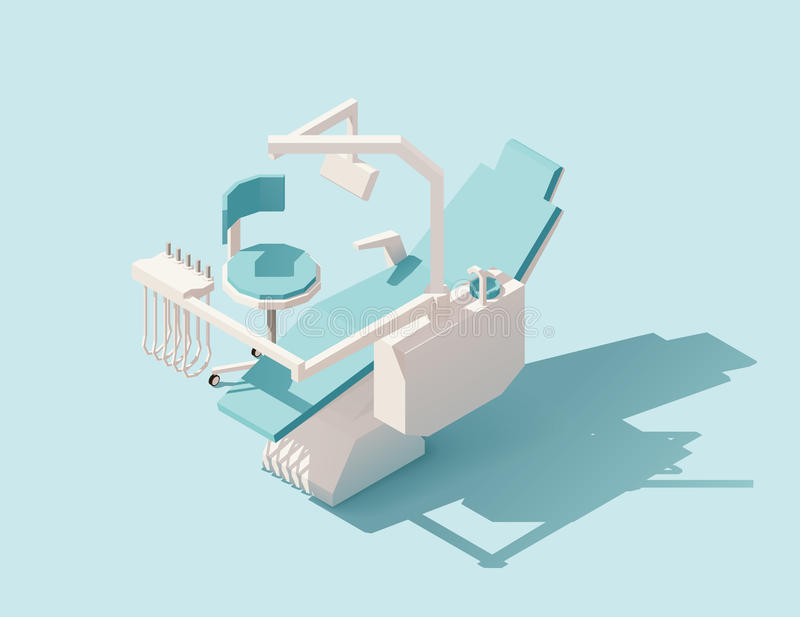 Isometrisk låg poly tand- stol för vektor stock illustrationer