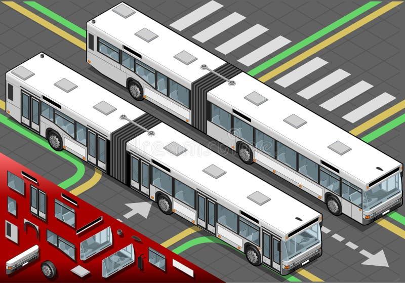 Isometrisk lång buss i Front View royaltyfri illustrationer