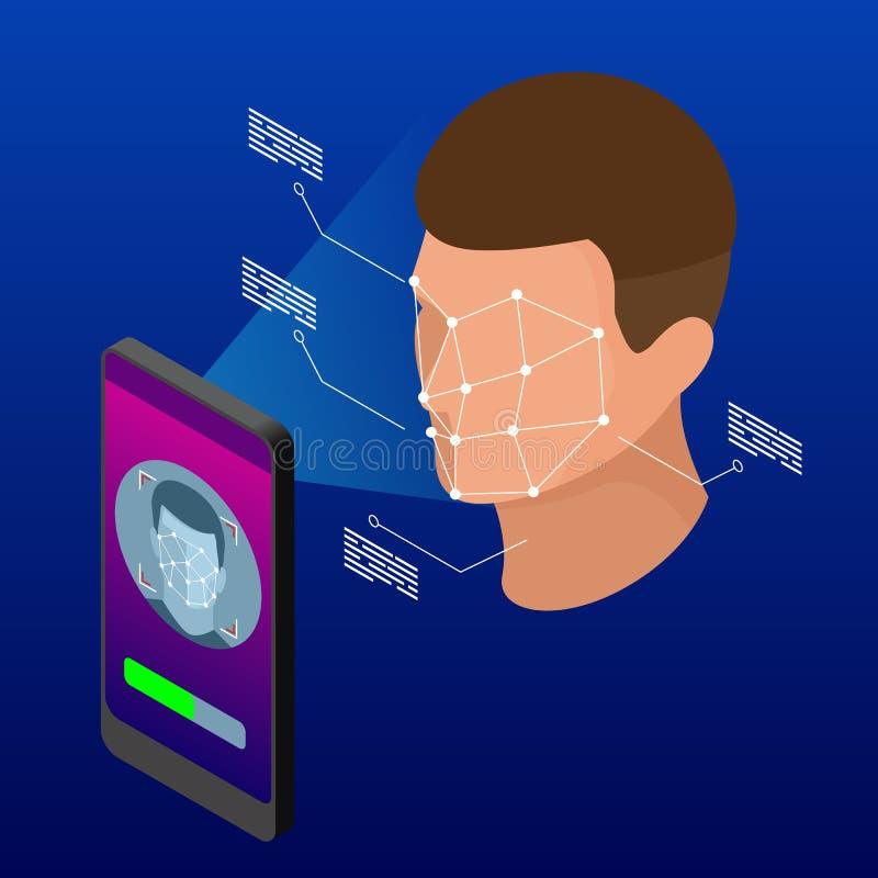 Isometrisk låsande upp smartphone med biometric ansikts- ID, biometric ID, system för ansikts- erkännande vektor illustrationer