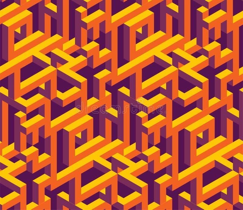 Isometrisk labirynthmodell stock illustrationer
