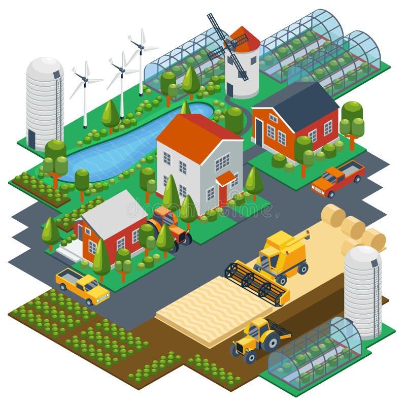 Isometrisk lantgårdplats Byinställning med stock illustrationer