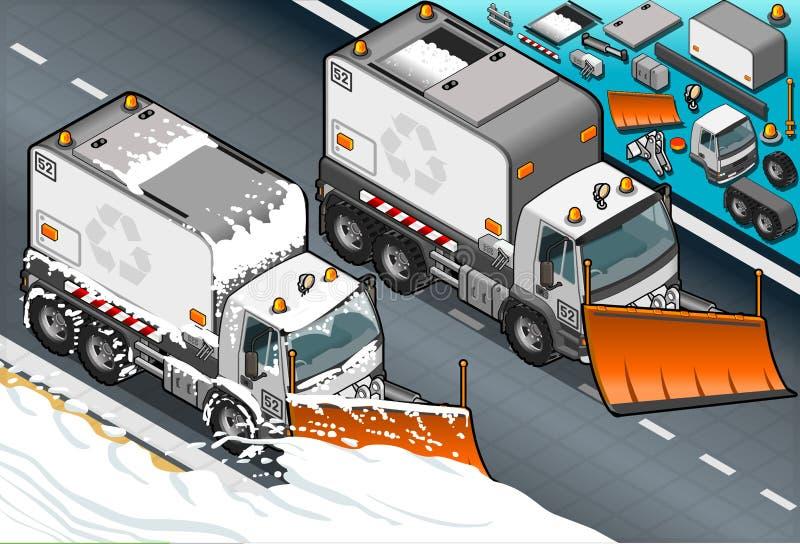 Isometrisk lastbil för snöplog i Front View stock illustrationer