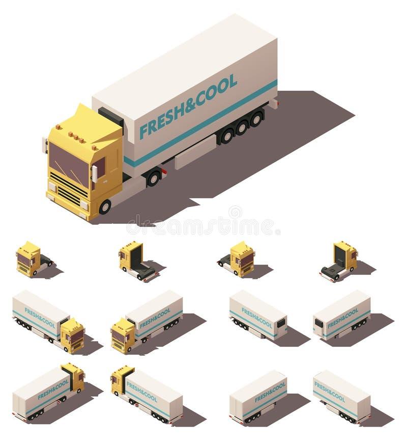 Isometrisk lastbil för vektor med den isolerade eller kylde halv-släp symbolsuppsättningen stock illustrationer