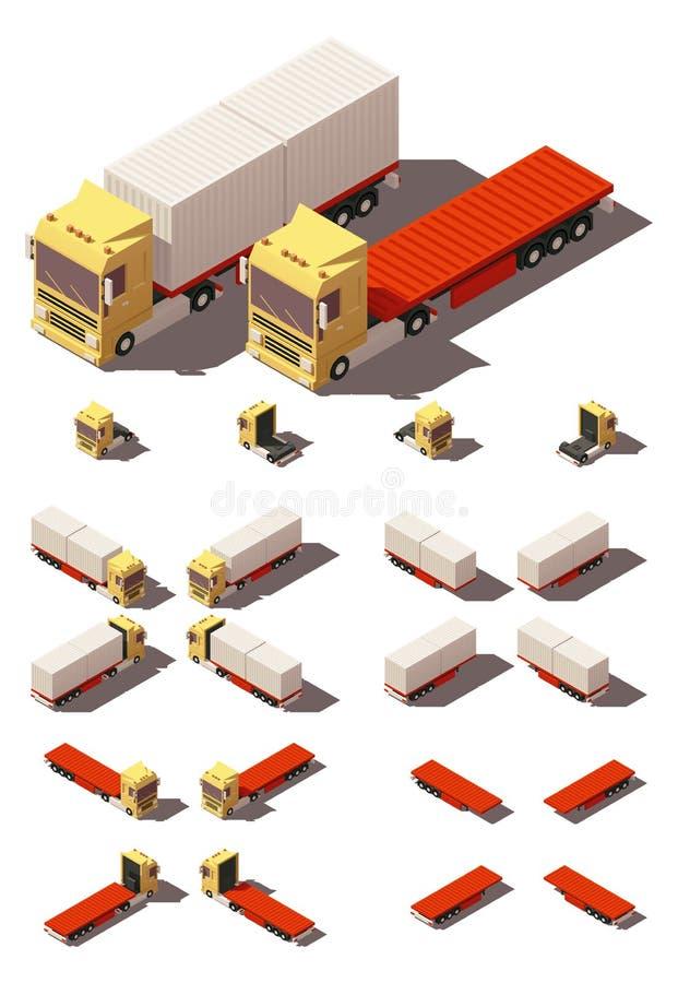 Isometrisk lastbil för vektor med uppsättningen för behållarehalv-släp symbol royaltyfri illustrationer