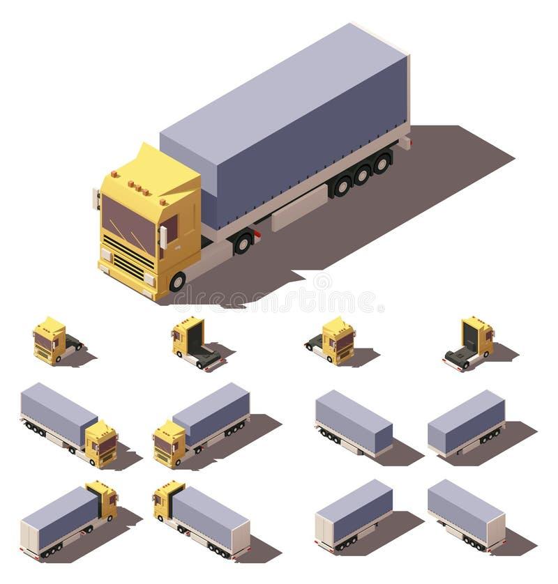 Isometrisk lastbil för vektor med uppsättningen för lutandeaskhalv-släp symbol stock illustrationer