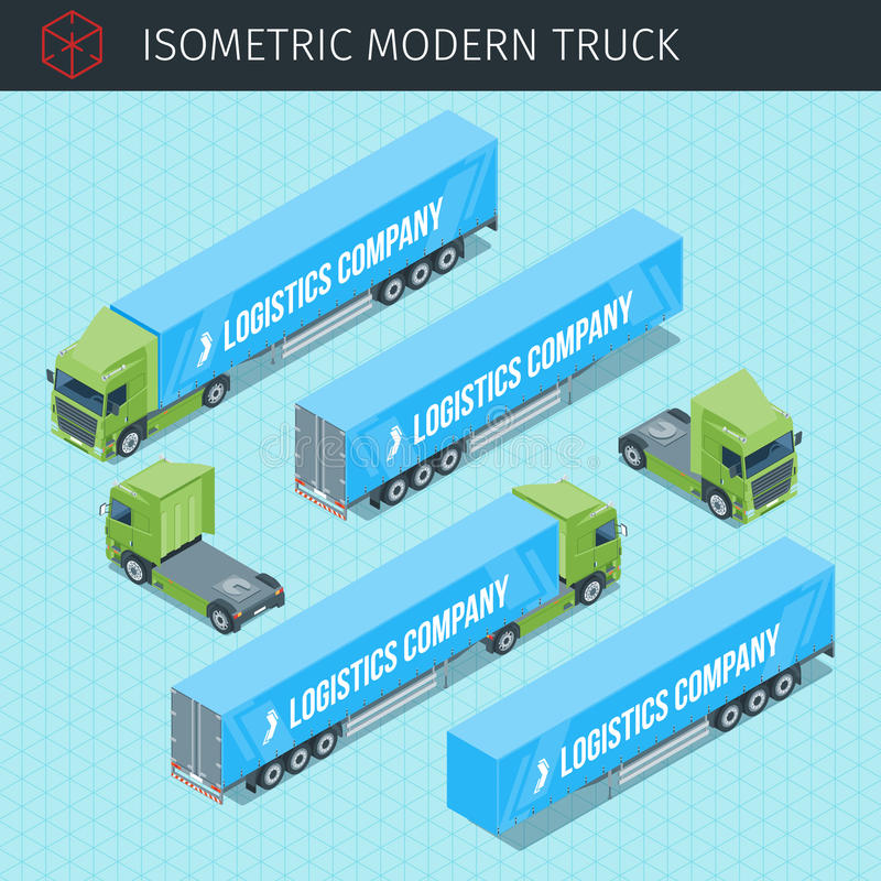 Isometrisk lastlastbil vektor illustrationer
