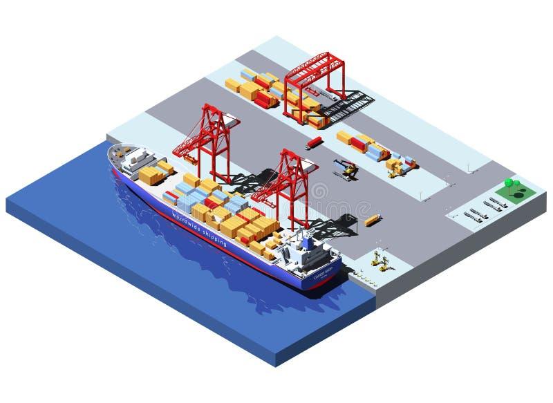 Isometrisk lastport för vektor med två kranar som lastar av behållare från behållareskeppet stock illustrationer