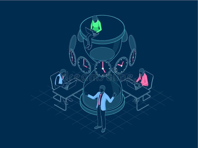 Isometrisk ledning för effektiv tid i översiktsbegrepp Affärsfolket planerar och organiserar arbetstid, avtal stock illustrationer