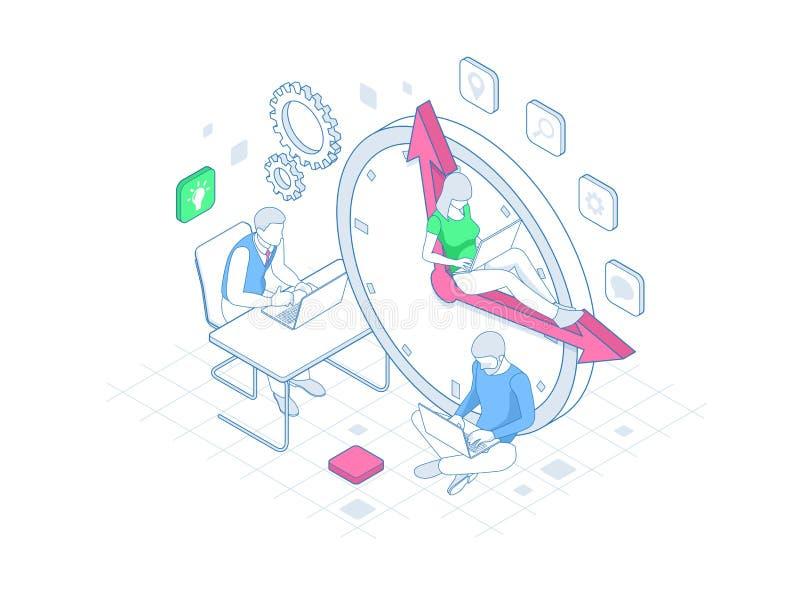 Isometrisk ledning för effektiv tid i översiktsbegrepp Tid ledning, planläggning och organisation av arbetstid stock illustrationer