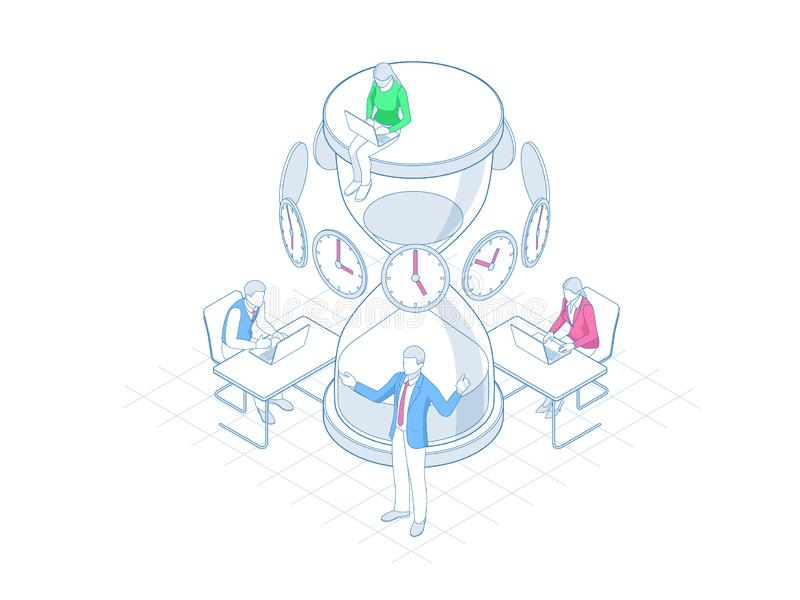 Isometrisk ledning för effektiv tid i översiktsbegrepp Tid ledning, planläggning och organisation av arbetstid vektor illustrationer