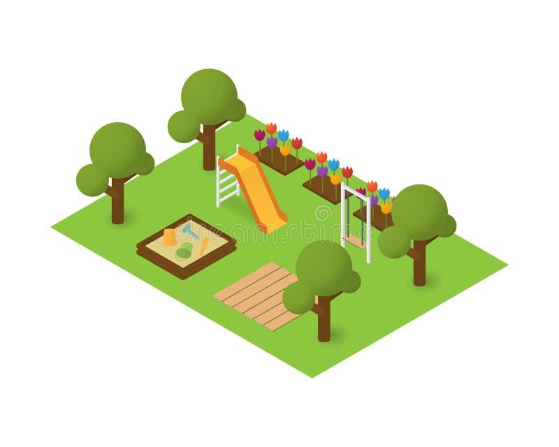 Isometrisk lekplats för vektor royaltyfri illustrationer