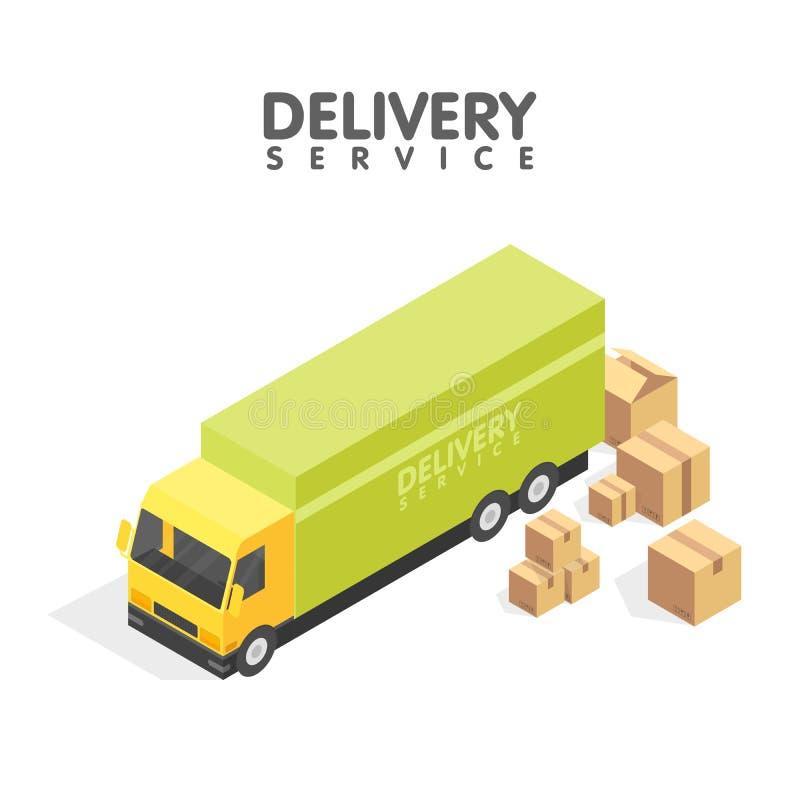 Isometrisk leveransbil och uppsättning av kartonger Isometrisk vektorillustration Hemsändningbegrepp stock illustrationer