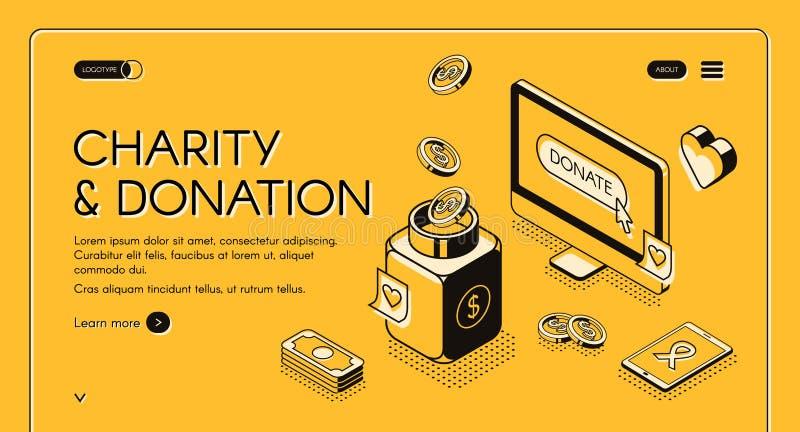 Isometrisk linje halvton för välgörenhetdonationvektor royaltyfri illustrationer