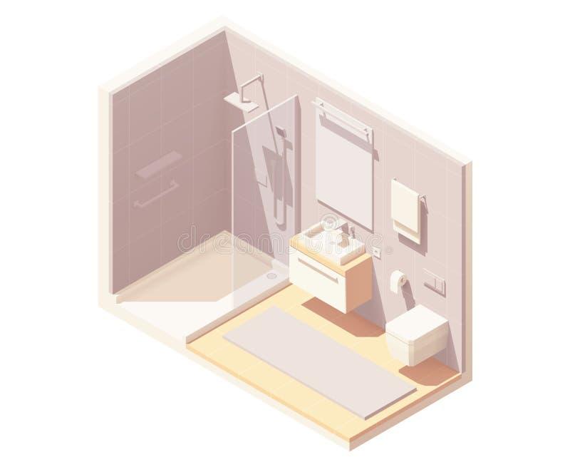 Isometrisk liten badruminre för vektor stock illustrationer