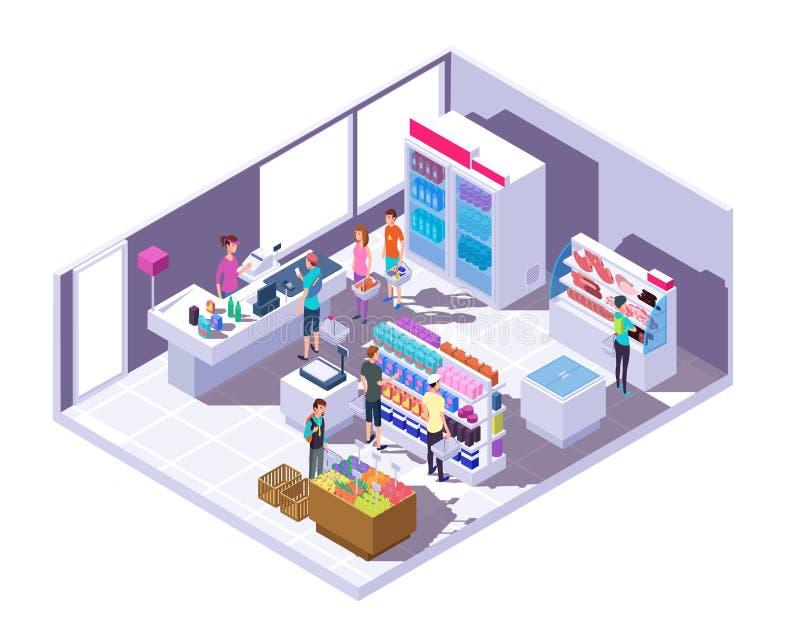 Isometrisk livsmedelsbutikinre Supermarketinre med shoppingfolk och mat på hyllor och kylen vektor 3d stock illustrationer