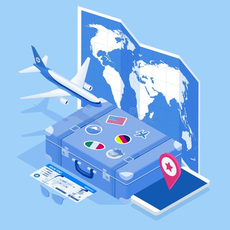 Isometrisk lopp- och turismbakgrund Biljetter f?r k?pande eller f?r bokning direktanslutet Resa och turism Begreppswebsitemall royaltyfri illustrationer