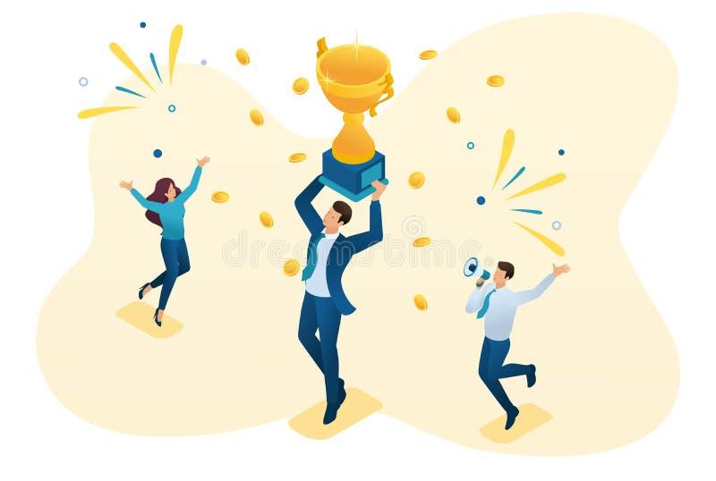 Isometrisk lyckad affärsman som firar en seger, och att triumfera i koppvinnare Begrepp f?r reng?ringsdukdesign vektor illustrationer