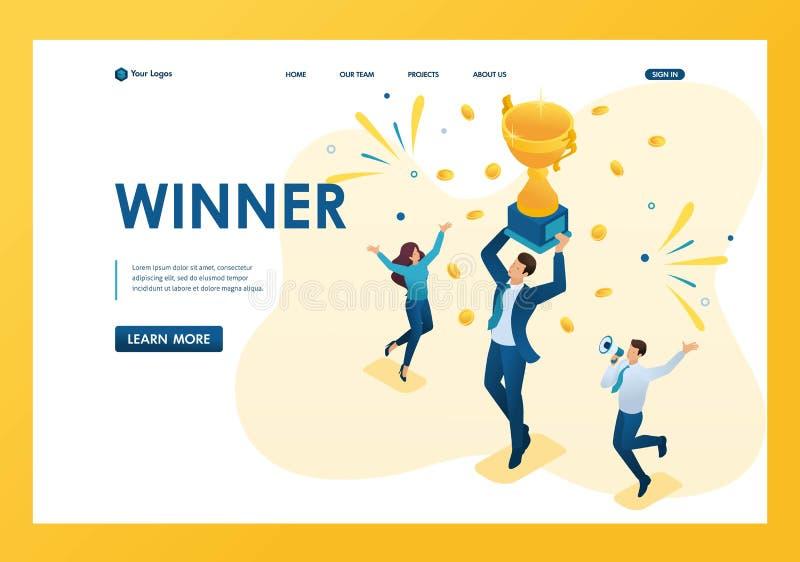 Isometrisk lyckad affärsman som firar en seger, och att triumfera i koppvinnare Malllandningsida vektor illustrationer