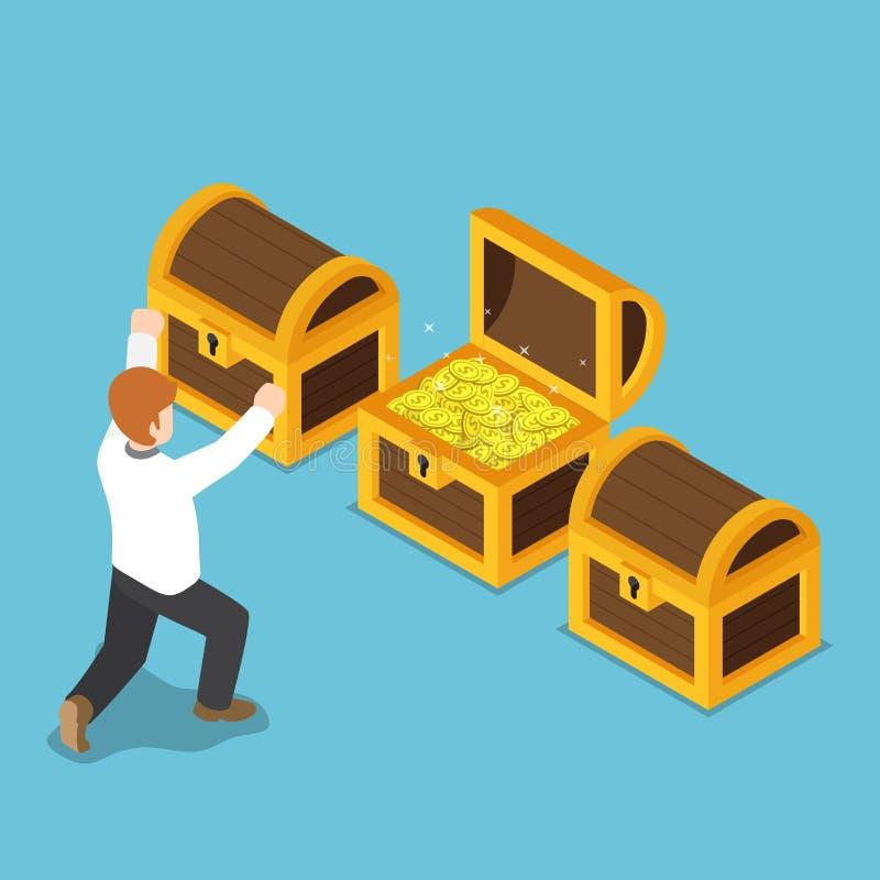 Isometrisk lycklig affärsman med den öppnade skattbröstkorgen stock illustrationer