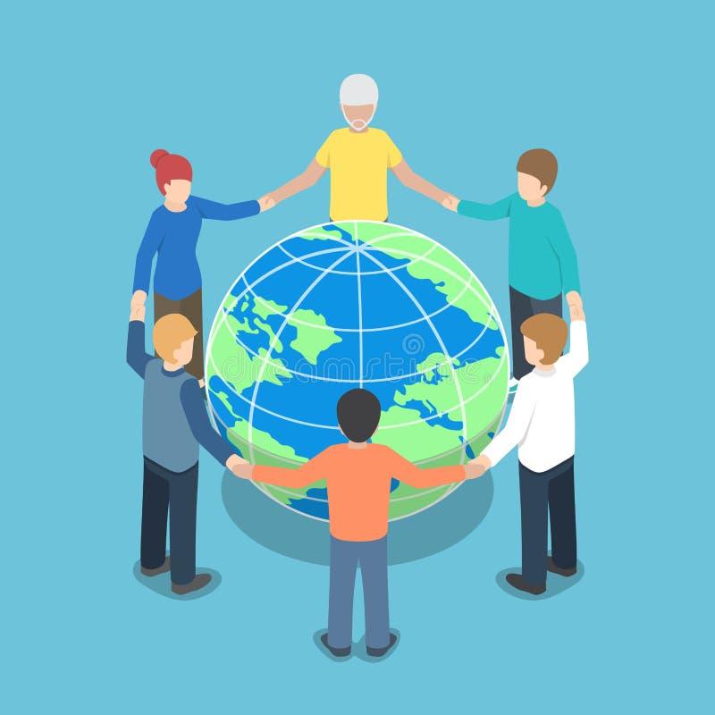 Isometrisk människor världen runt som rymmer händer vektor illustrationer