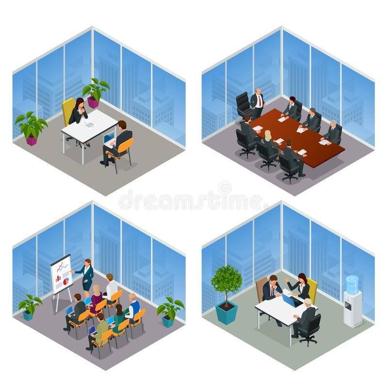 Isometrisk mötesrum för konferens för affärsfolk talande Lagarbetsprocess Möte för teamwork för affärsledning och stock illustrationer