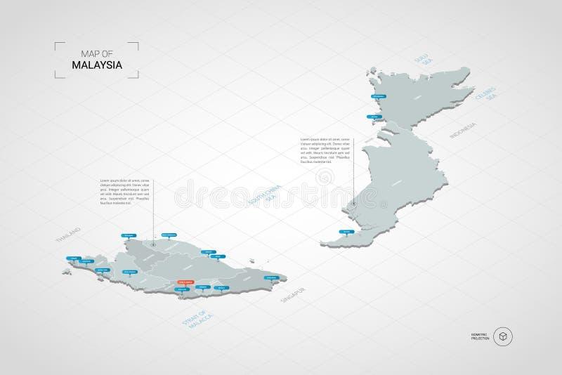 Isometrisk Malaysia översikt med stadsnamn och administrativ divisi stock illustrationer
