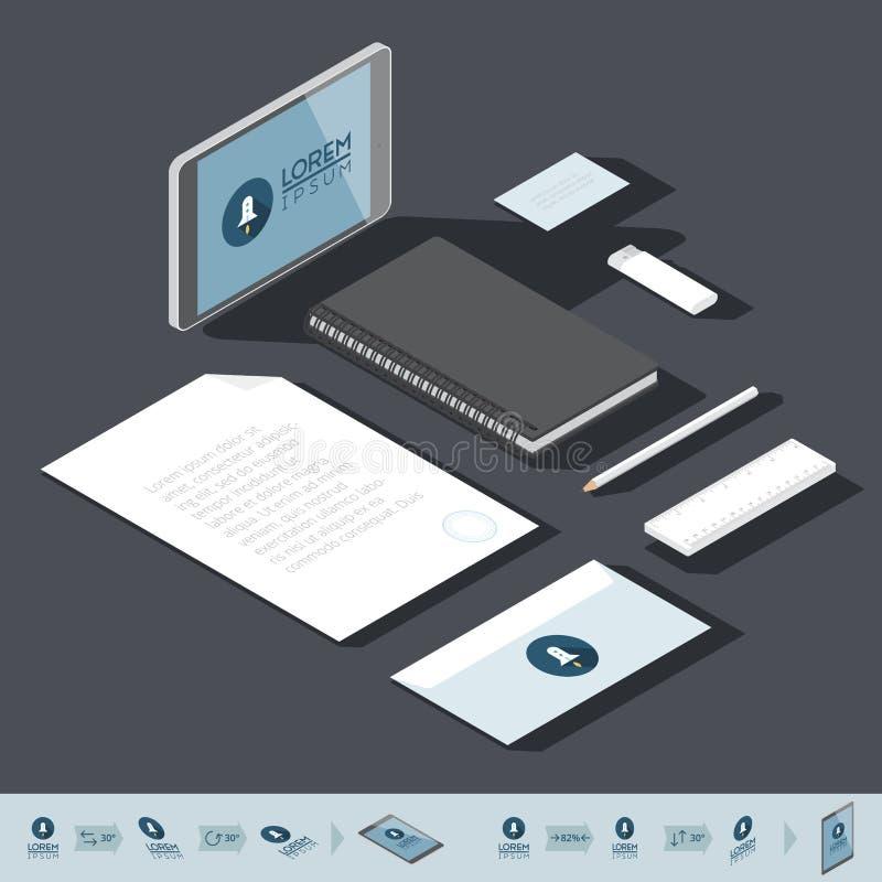 Isometrisk mall för företags identitet stock illustrationer
