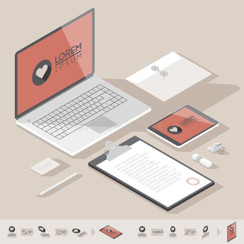 Isometrisk mall för företags identitet royaltyfri illustrationer