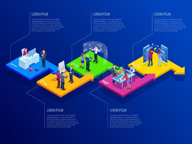 Isometrisk mall för presentationsaffärsinfographics med 5 alternativ Visualization för affärsdata, digital marknadsföring vektor illustrationer