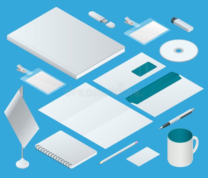 Isometrisk malluppsättning för företags identitet Brännmärka design blank mall Affärsbrevpappermodell För diagram vektor illustrationer