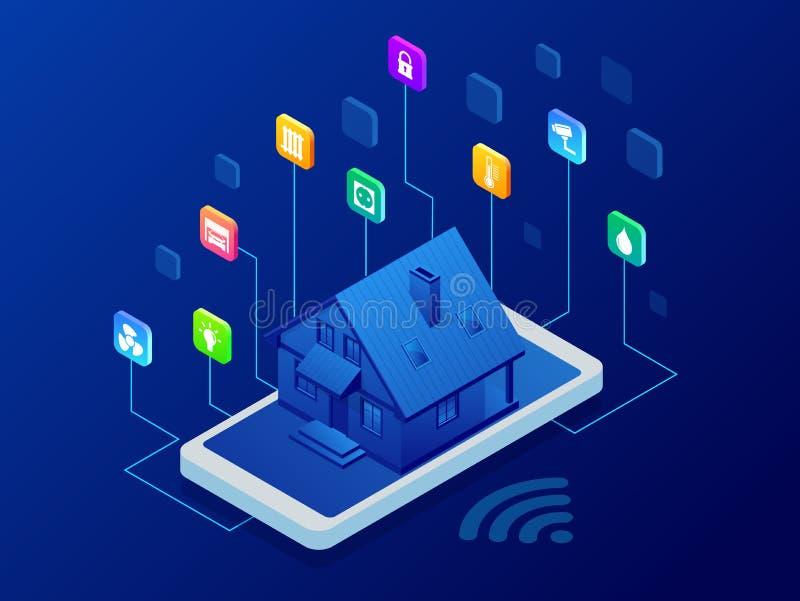 Isometrisk manöverenhet för Smart hemteknologi på smartphoneapp-skärmen med ökad verklighetAR-sikt av internet av saker stock illustrationer