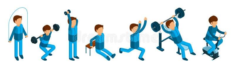 Isometrisk man som gör sportövningar Manliga kondition- och idrottshalltecken som isoleras på vit bakgrund vektor illustrationer