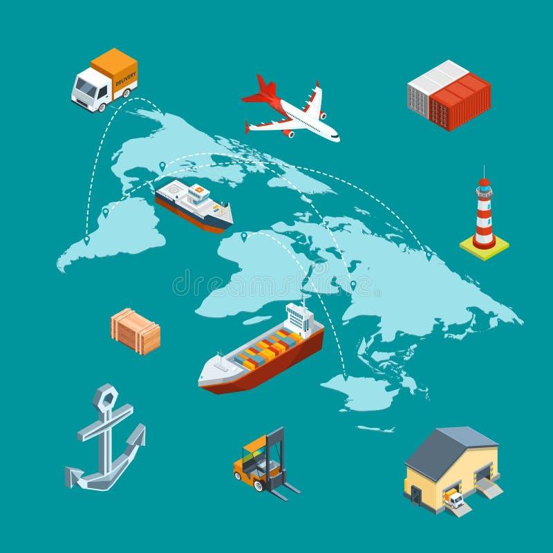 Isometrisk marin- logistik för vektor och världsomspännande sändnings på världskarta med benbegreppsillustrationen royaltyfri illustrationer