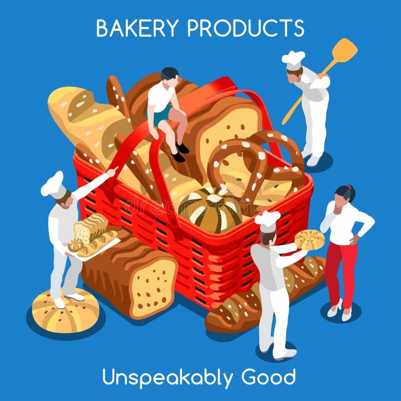 Isometrisk mat för bageri 01 royaltyfri illustrationer