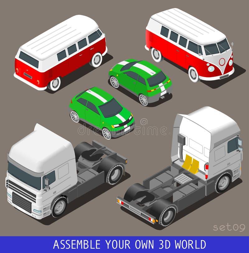 Isometrisk medeluppsättning för lägenhet 3d på parkeringshuset stock illustrationer
