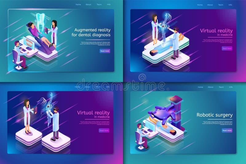 Isometrisk medicinsk behandling för fastställt baner för patient stock illustrationer