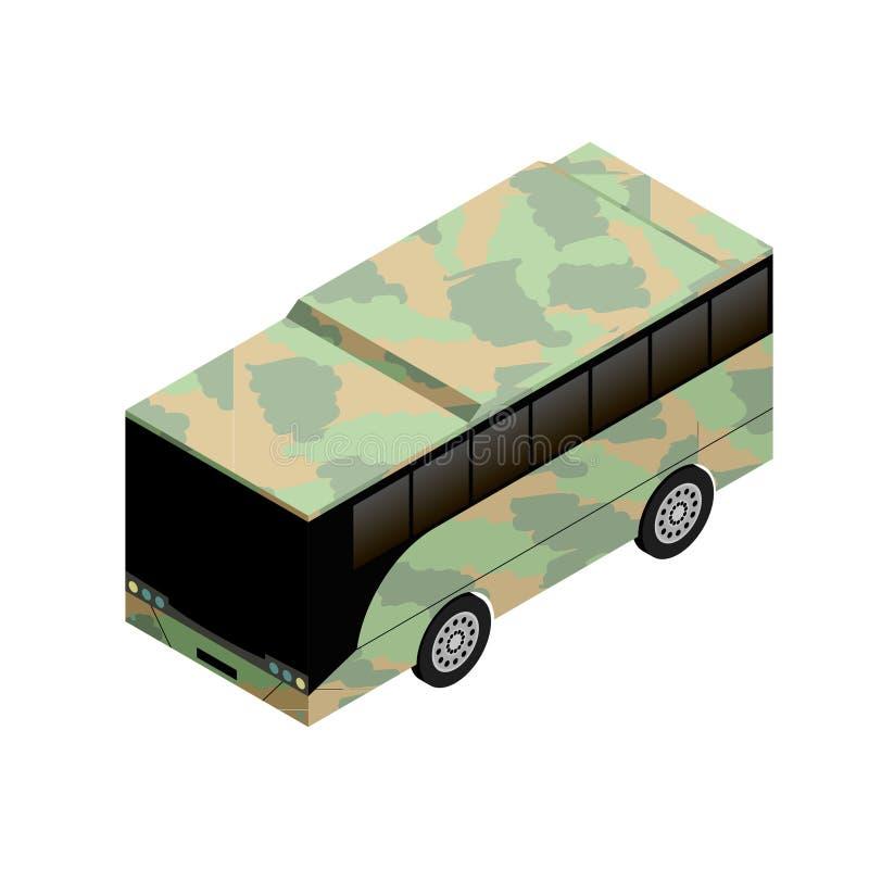 Isometrisk militär busssymbol royaltyfri illustrationer