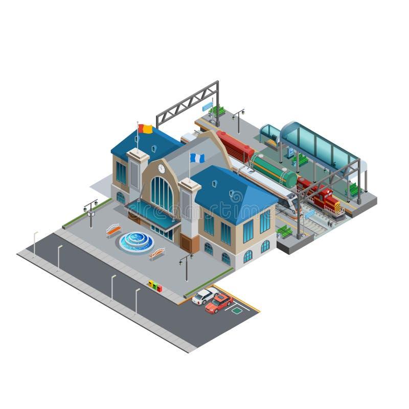 Isometrisk miniatyr för drevstation stock illustrationer