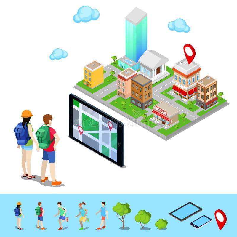 Isometrisk mobil navigering Turister som söker rutten i staden stock illustrationer