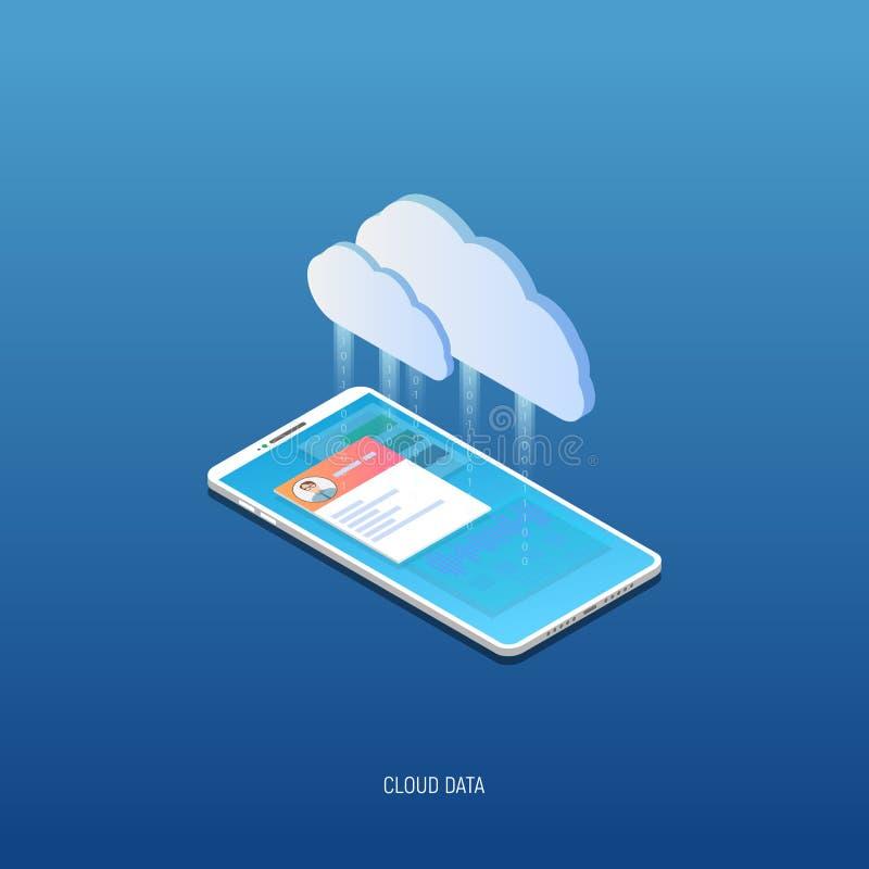 Isometrisk mobiltelefon- och molnlagring royaltyfri illustrationer