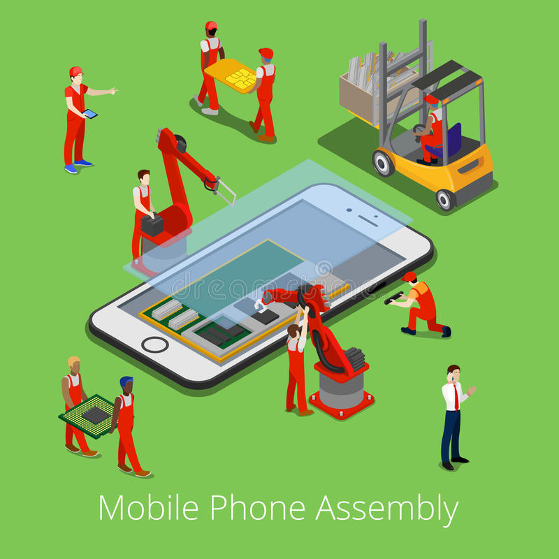 Isometrisk mobiltelefonenhetsprocess Plana arbetare 3d monterade Smartphone stock illustrationer