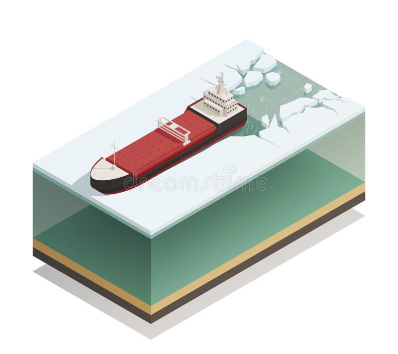 Isometrisk modell för isbrytareskepp flytande stock illustrationer
