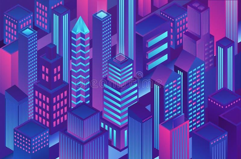 Isometrisk moderiktig illustration för mall för stad för färg för violetblåttlutning av kryptografi, online-elektronisk finans oc royaltyfri illustrationer