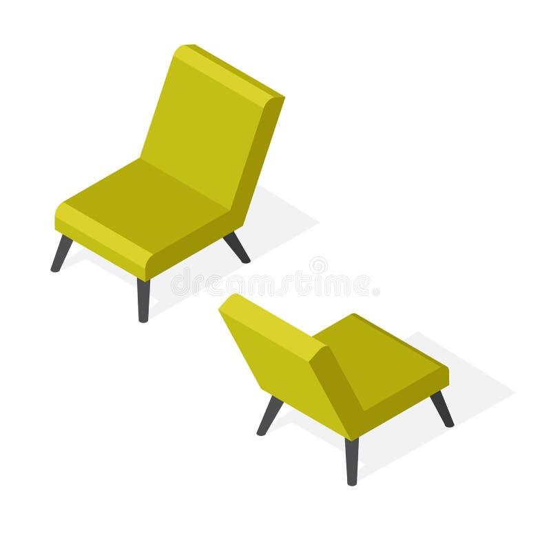 Isometrisk moderiktig stolillustration royaltyfri illustrationer