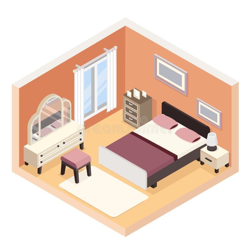 Isometrisk modern illustration för vektor för begrepp för lampa för säng för jackett för sovrummöblemangrum plan design isolerad royaltyfri illustrationer