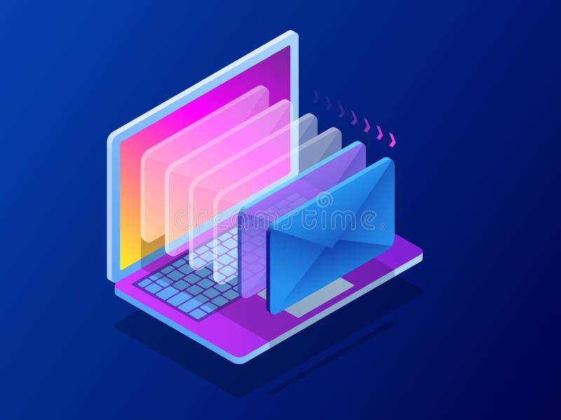 Isometrisk modern mejl, emailmarknadsföring, internet som annonserar begrepp också vektor för coreldrawillustration stock illustrationer