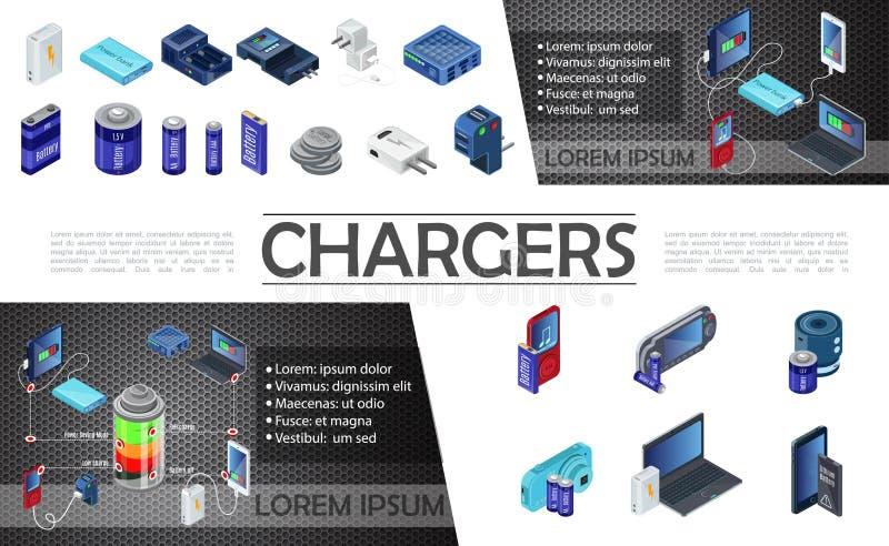 Isometrisk modern uppladdaresammansättning vektor illustrationer