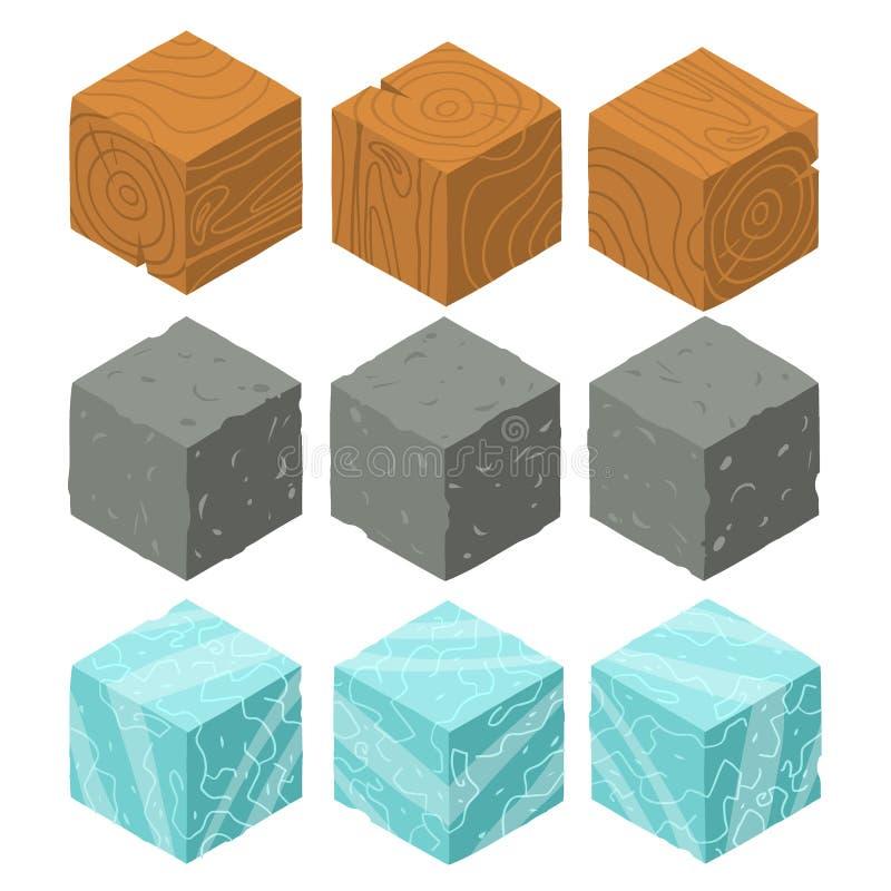 Isometrisk modig tegelstenkubuppsättning royaltyfri illustrationer