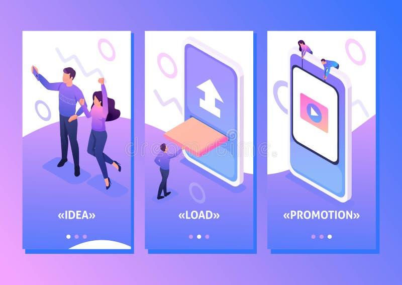 Isometrisk nöjd skapelse för sociala nätverk stock illustrationer