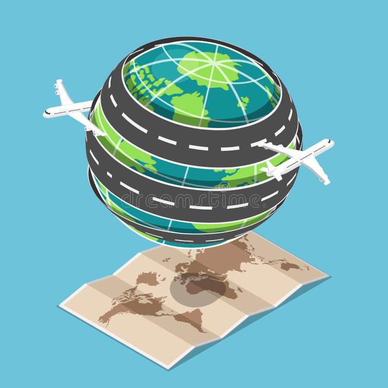 Isometrisk nivå- och trans.väg som runt om världen cirklas royaltyfri illustrationer